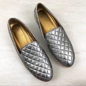 Johnston & Murphy Portia Pewter Metallic Loafers
